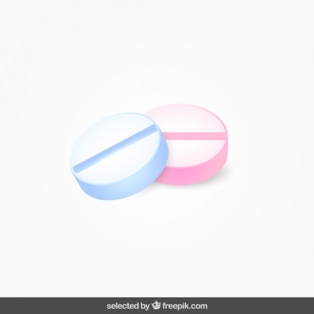 Two isolated pills Free Vector