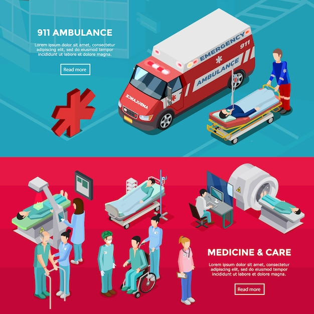 Two isometric hospital horizontal banners Free Vector