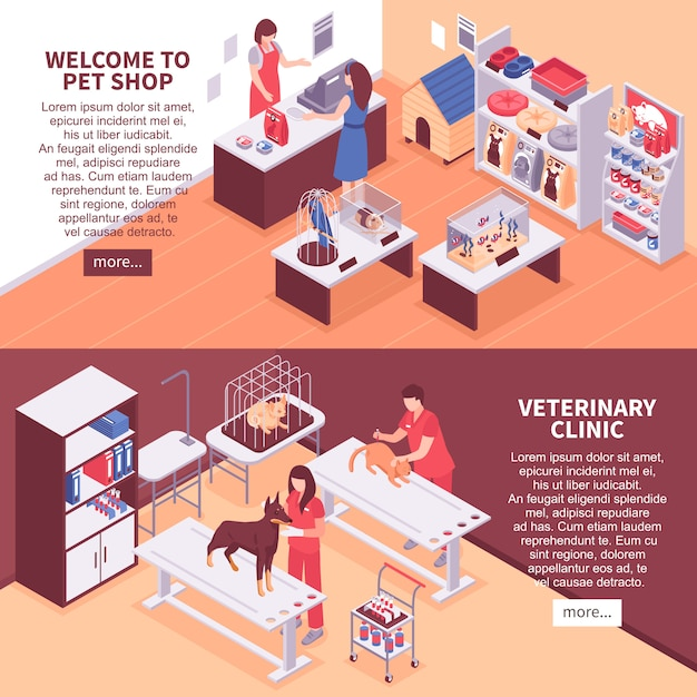Two isometric pet shop banner set Free Vector