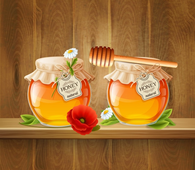 Two jar of honey composition Free Vector