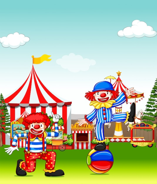 Two jesters performing in the amusement park Free Vector