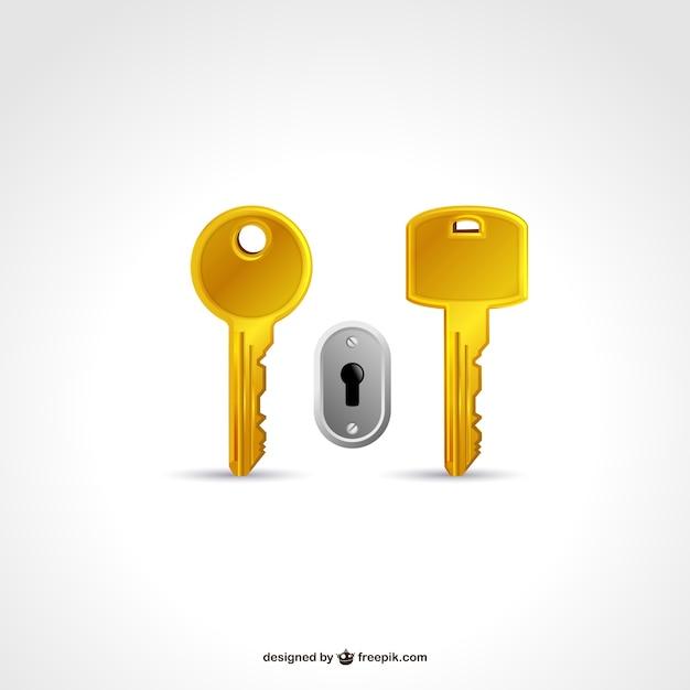 キー2本鍵穴 無料ベクター