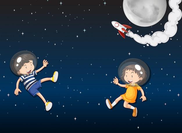 Two kid astronauts in space Premium Vector