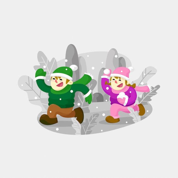 Two kid playing snowball outdoor Premium Vector