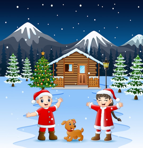 Two kid in santa costume waving and laughing with a dog Premium Vector