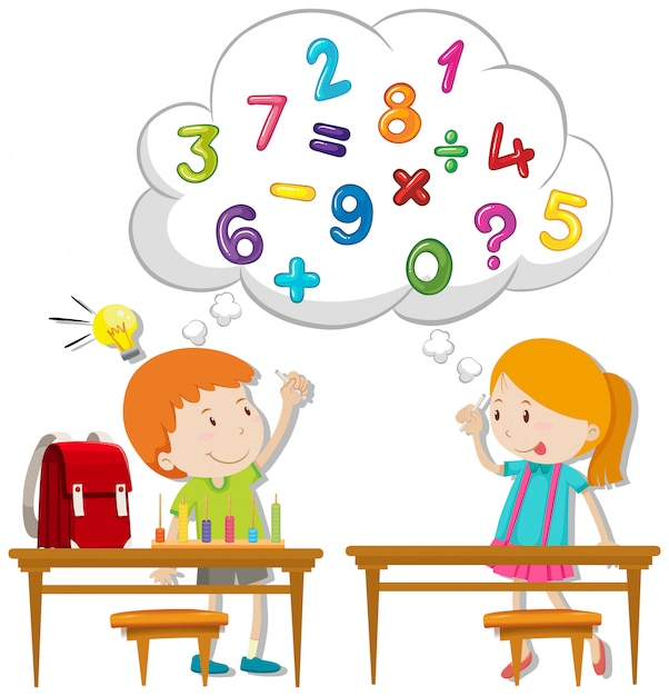 Two kids calculating in classroom Free Vector