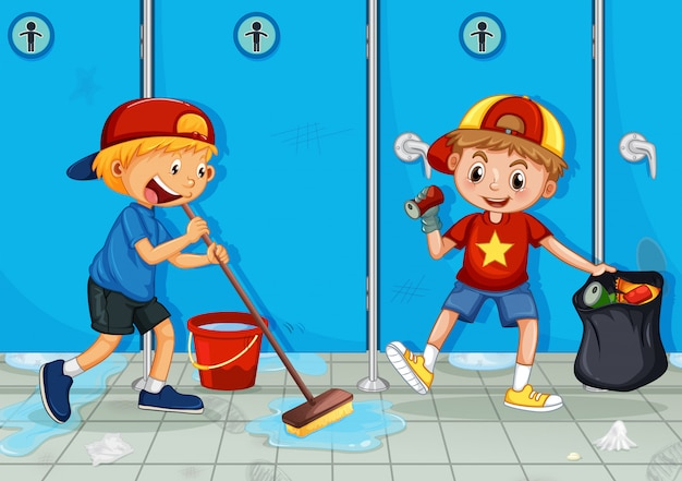 Two kids help cleaning toilet Premium Vector