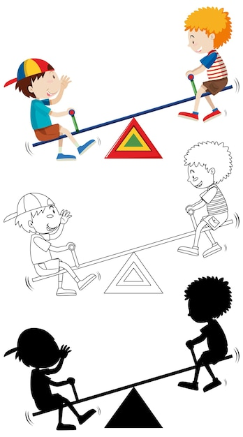 Two kids palying seesaw with its outline and silhouette Free Vector