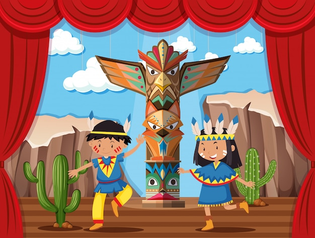 Two kids playing native indian on stage Premium Vector