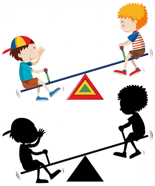Two kids playing seesaw with its silhouette Free Vector
