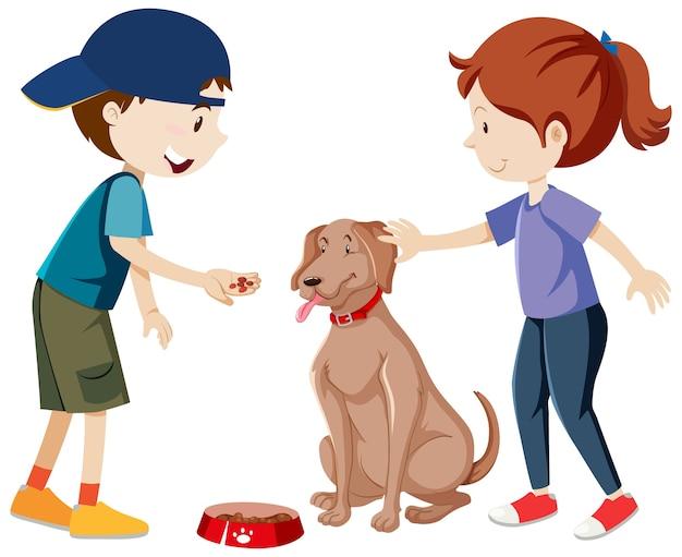 2人の子供が練習し、分離された犬の漫画を供給 無料ベクター