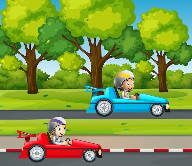 Two kids racing car in the park Premium Vector