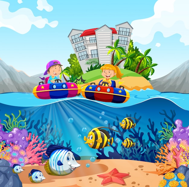 Two kids riding on rubber boats in ocean Free Vector