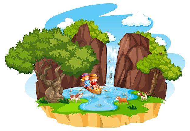 두 아이가 흰색 배경에 자신의 애완 동물과 함께 물 가을에 보트를 행 무료 벡터