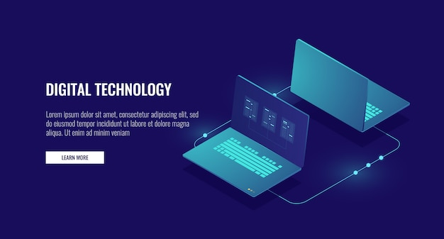 Two laptop computer exchanging data, data encryption, protected connection Free Vector