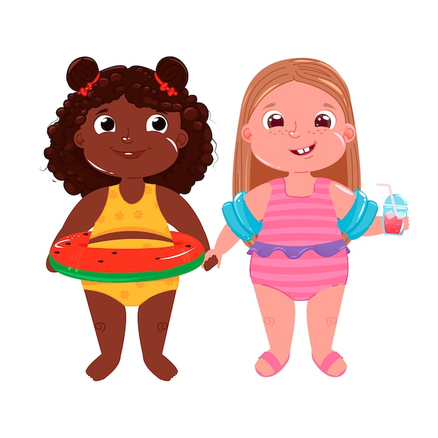 Two little girls on the beach Free Vector
