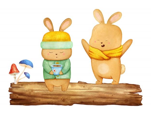 木の上の2つの小さな幸せなノウサギ Premiumベクター