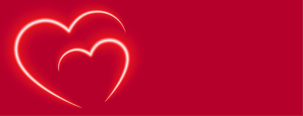 Two love neon red hearts valentines day banner Free Vector