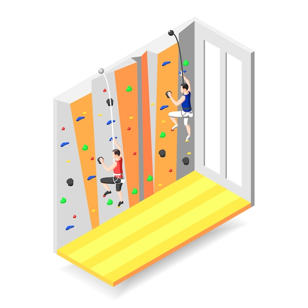 Two male characters climbing up on training climbing wall Free Vector