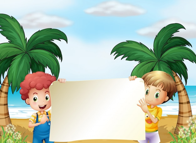 Two male kids holding an empty signboard Free Vector