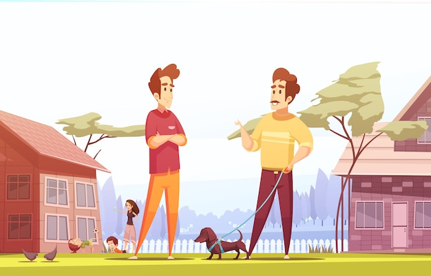 Two male neighbors at village illustration Free Vector