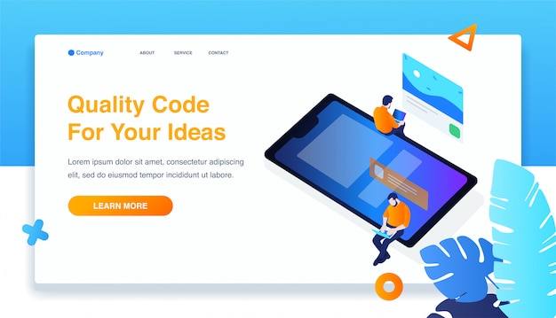 Two man build responsive mobile application Premium Vector