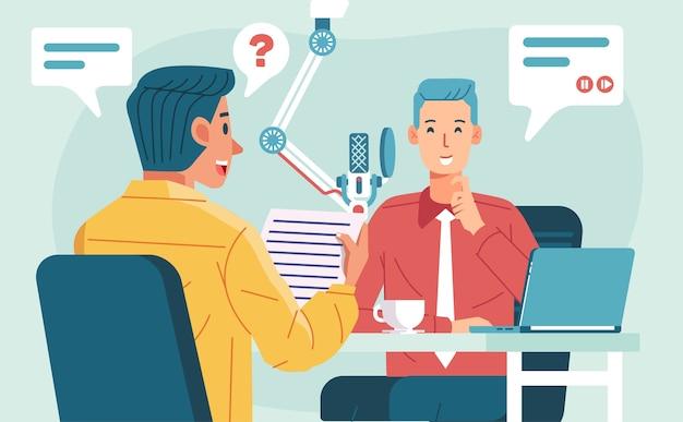 Два человека делают интервью подкаста с предпринимателем в студии, микрофоном и ноутбуком на иллюстрации стола. используется для плаката, целевой страницы и других Premium векторы