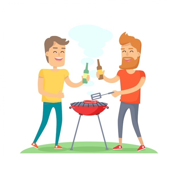 Two man fried meat on barbecue friends forever Premium Vector