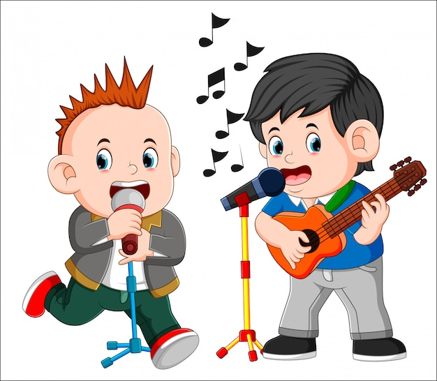 Two man playing guitar and singing Premium Vector