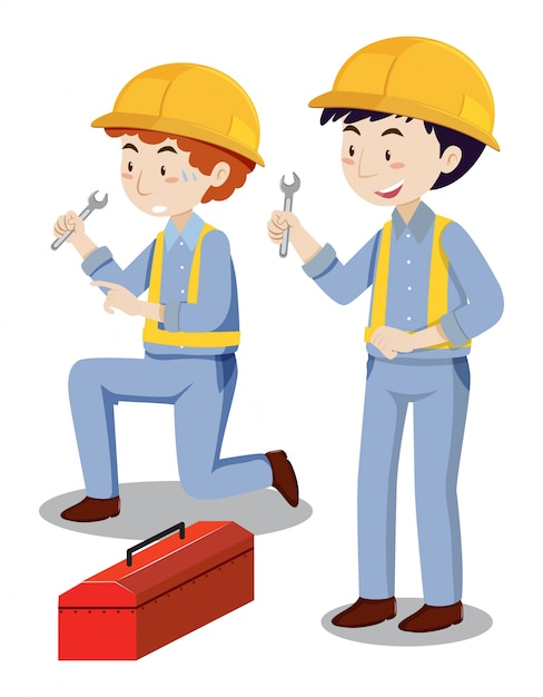 Two mechanics with toolbox Free Vector