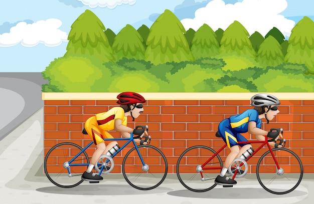 Two men biking Free Vector