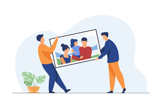 Two men carrying big family picture. people moving into new apartment flat vector illustration. artwork, memory, family portrait Free Vector