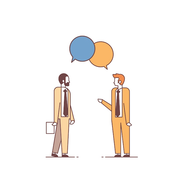 Two men discussing business meeting chat bubble speech colleagues communication concept male cartoon characters full length Premium Vector