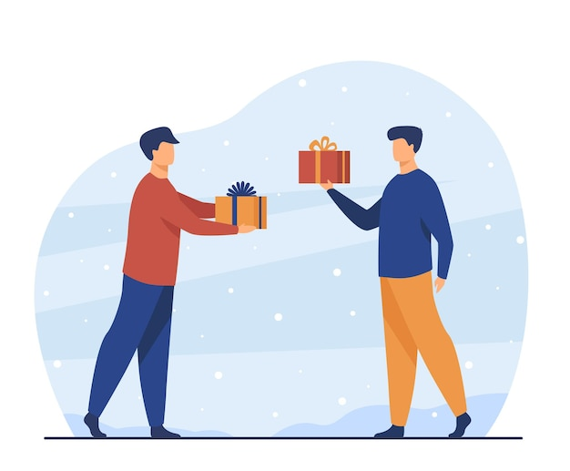 Two men giving presents each other. friend, gift, party flat  illustration. cartoon illustration Free Vector