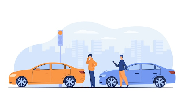Two men having car accident isolated flat vector illustration. cartoon people looking at automobile damage. Free Vector
