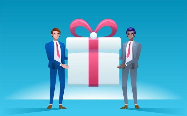 Two men holding big gift box. business concept. . Premium Vector