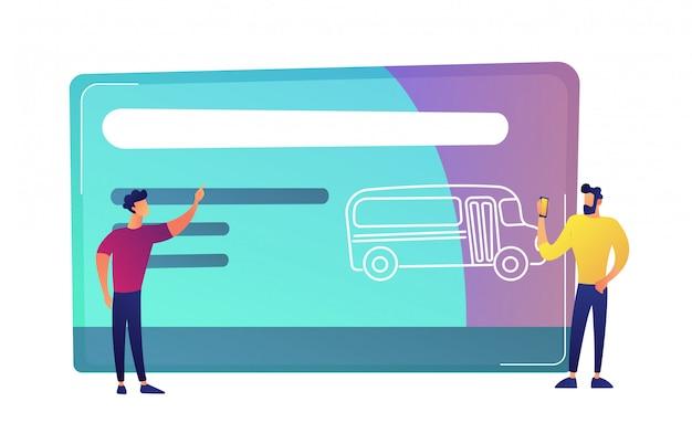 2 люд около огромной карточки перемещения общественного транспорта с иллюстрацией вектора шины. Premium векторы