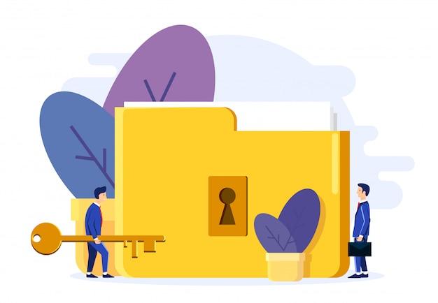 Two men open the lock folder. Premium Vector