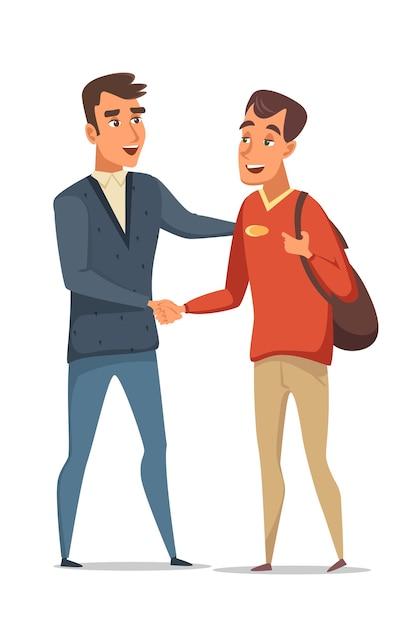 二人の男がお互いに握手し、友達に会って挨拶し、ビジネスマンは合意に達する。 Premiumベクター