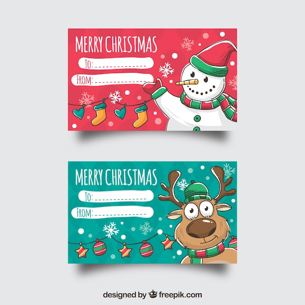 two merry christmas cards with a snowman and a reindeer vector