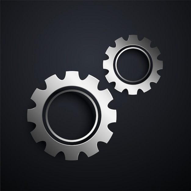 Two metallic gears setting background Free Vector