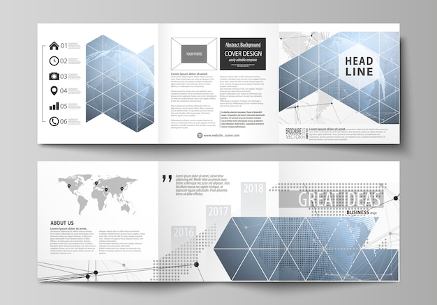 Two modern creative covers design templates for square brochure or flyer. Premium Vector