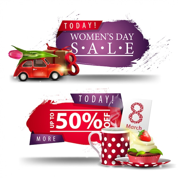Two modern discount women's day banners with buttons Premium Vector