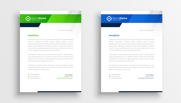 Two modern letterhead template design for business identity Free Vector