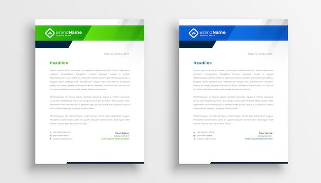 ビジネスアイデンティティのための2つのモダンなレターヘッドテンプレートデザイン 無料ベクター