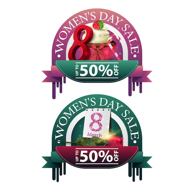 Two modern round discount banners to the women's day Premium Vector
