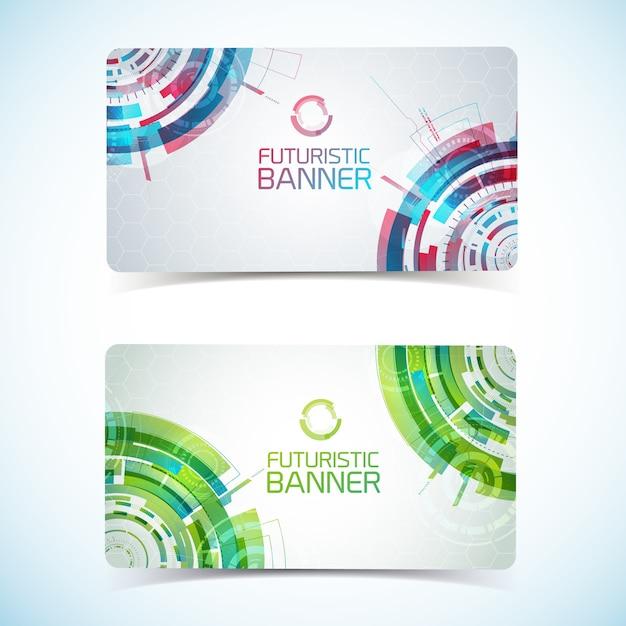 Carta club o biglietto da visita di due moderne tecnologie virtuali Vettore gratuito