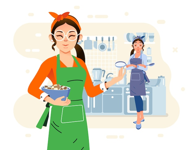 Two moms cooking together in the kitchen, wearing apron and kitchen appliance as background. used for web image, poster and other Premium Vector