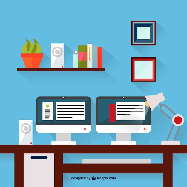 Two monitors desk with lamp Free Vector