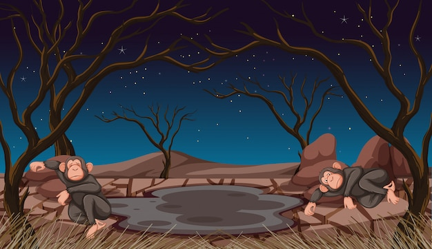 Two monkeys dying in drought land Free Vector